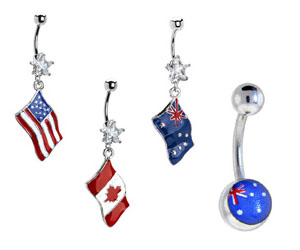 Flag Belly Button Rings
